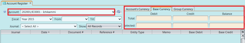 Account Register - base currency