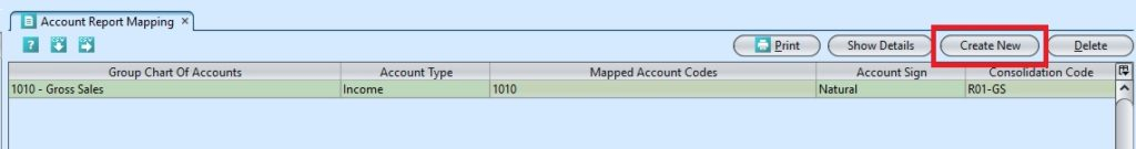Account Report Mapping create