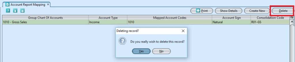Account Report Mapping delete
