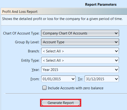 Accounts Reports - generate report