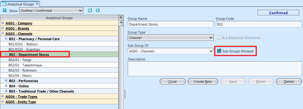Analytical Groups - create subgroups