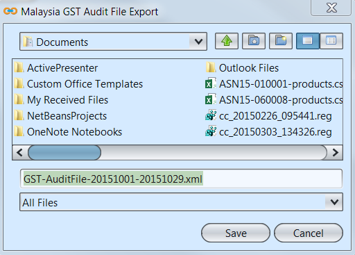 Audit Reports - GST Audit File Export - save