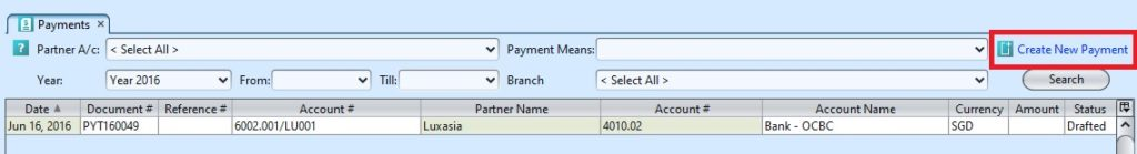Ex claim payment create