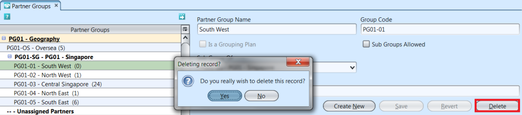 Partner Groups - delete