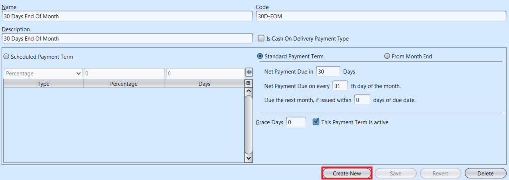 Payment Terms - create