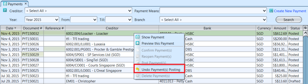 Payments - undo posting