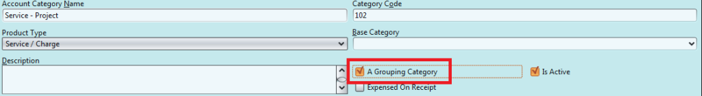 Account Category grouping
