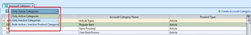 Account Category sort