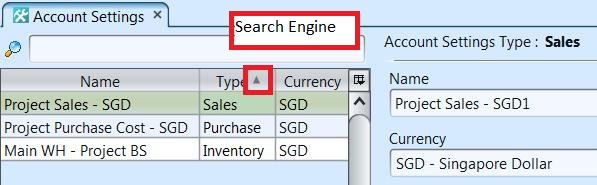 Account Settings - search engine