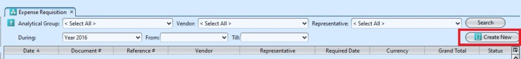 Expense Requisition create