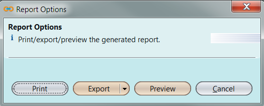 Print report options window
