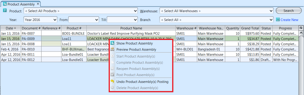 Product Assembly - list options