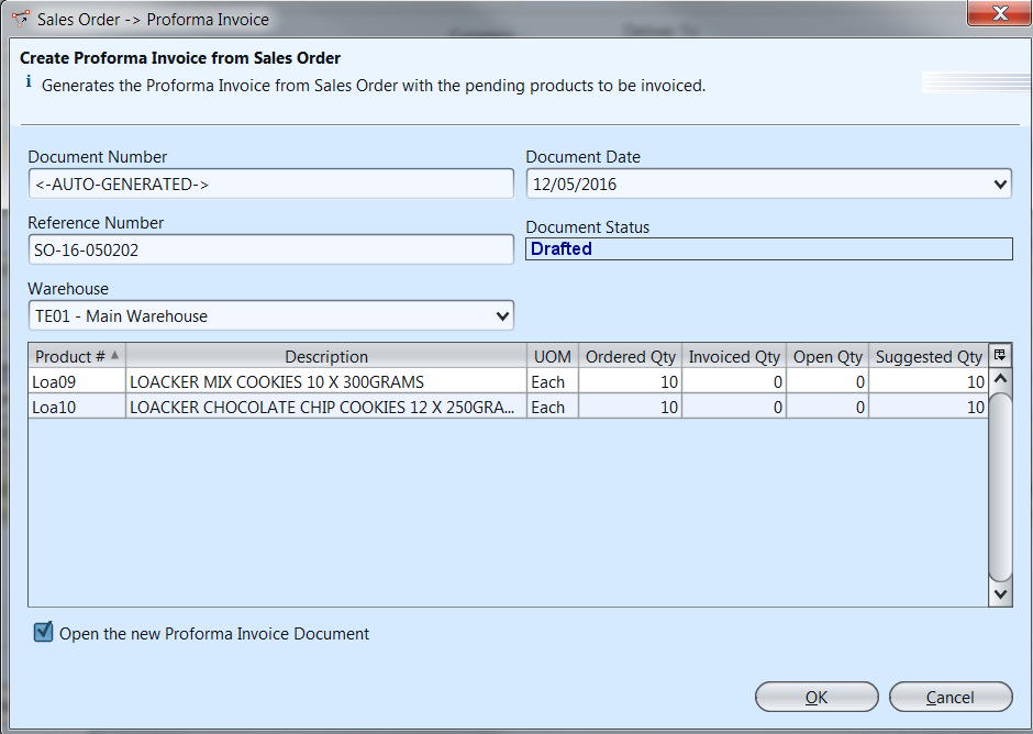Proforma Sales Invoice - generate from SO - popup