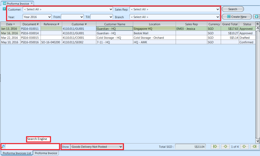 Proforma Sales Invoice - list filters