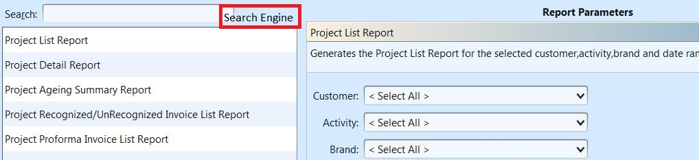 Project Reports - search