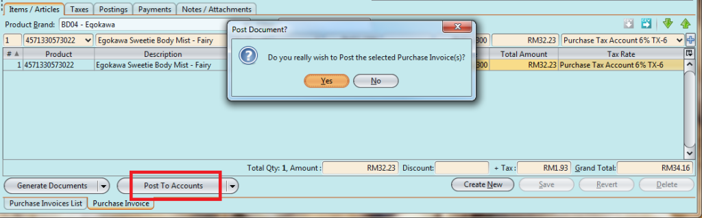 Purchase Invoice Post2