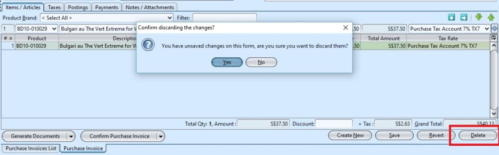 Purchase Invoice delete