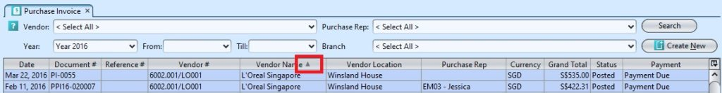 Purchase Invoice sort