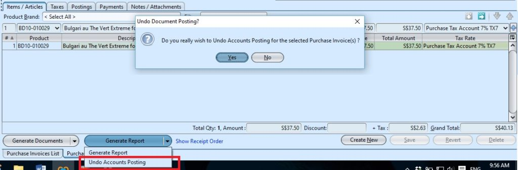 Purchase Invoice undo