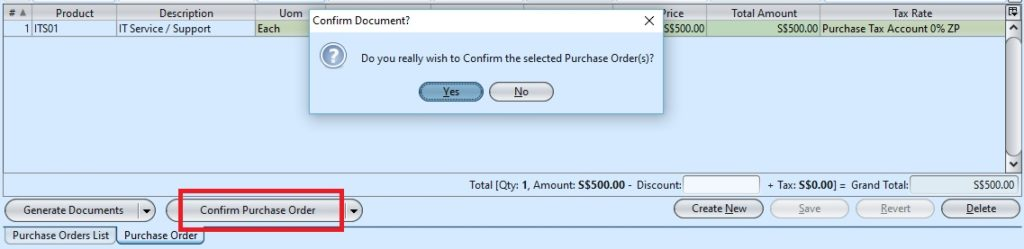 Purchase Order confirm