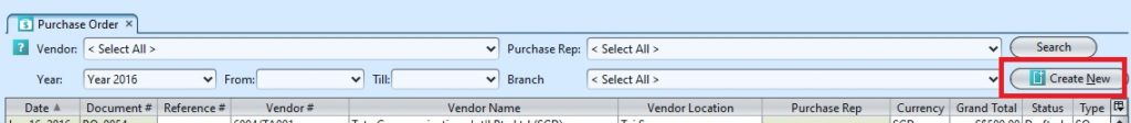 Purchase Order create