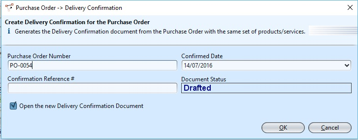 Purchase Order delivery con1