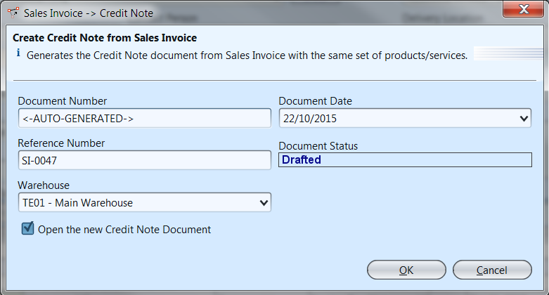 Sales Invoice - Create Credit Note
