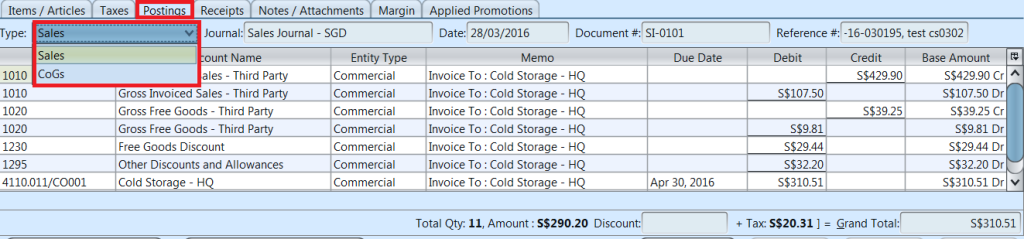 Sales Invoice - postings