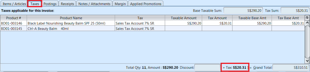 Sales Invoice - taxes