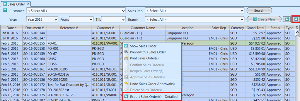 Sales Order - approved list options