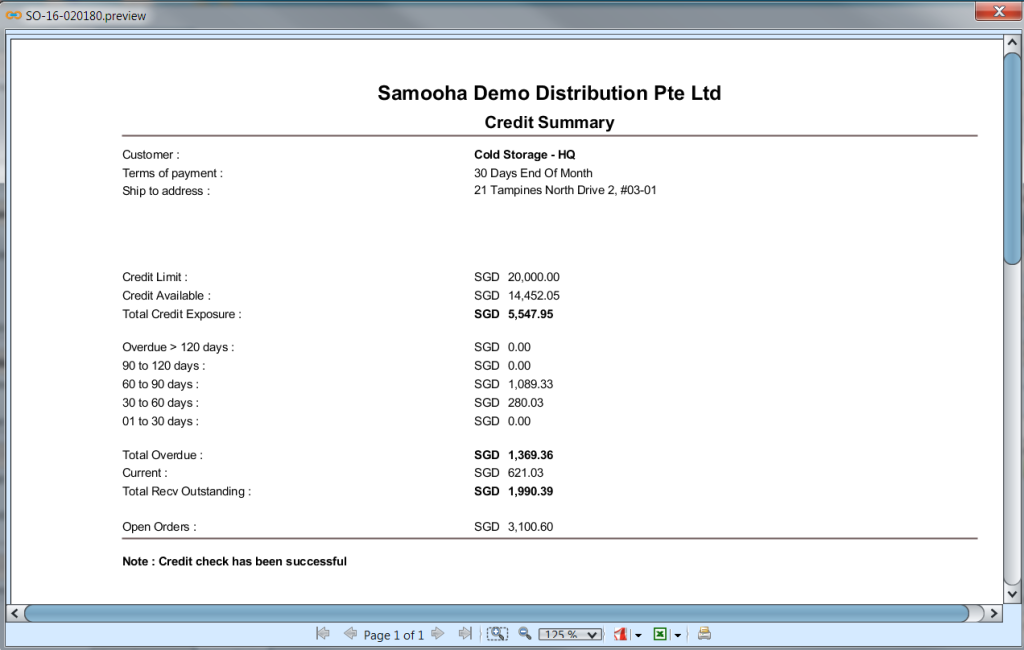 Sales Order - credit check preview
