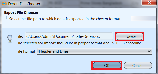 Sales Order - export file chooser
