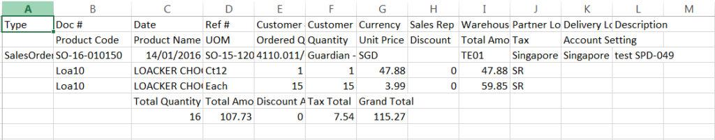 Sales Order - export sample - header format
