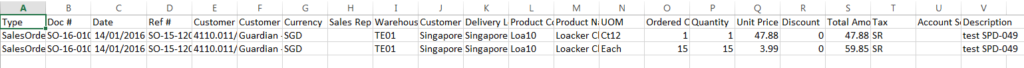 Sales Order - export sample - rows format