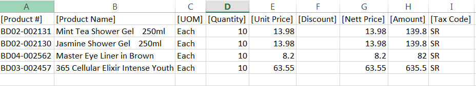 Sales Order - exported product file