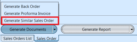 Sales Order - generate similar SO