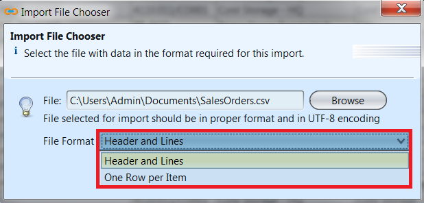 Sales Order - import file chooser - list