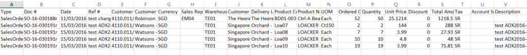 Sales Order - import sample - rows format