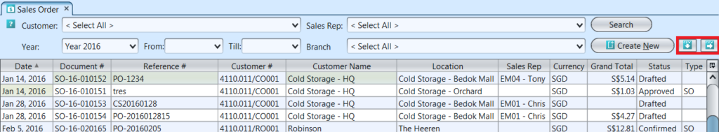 Sales Order - list - import export buttons