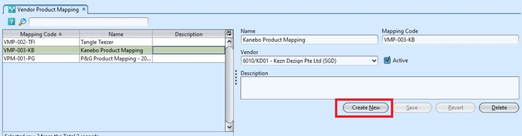 Vendor Product Mapping create