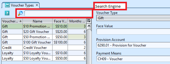 Voucher Types - search