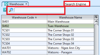 Warehouse - search