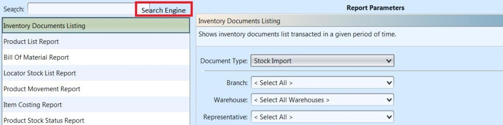 Inventory Reports - search