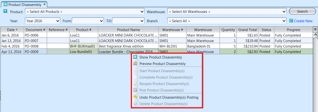 Product Disassembly - list options