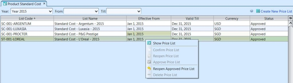 Product Standard Cost - List options