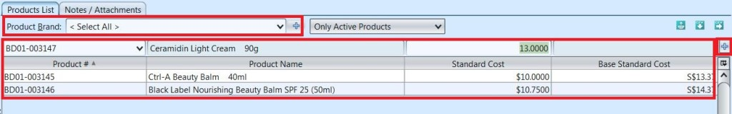 Product Standard Cost - add products