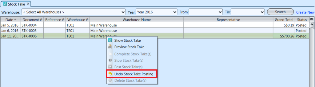 Stock Take List - undo