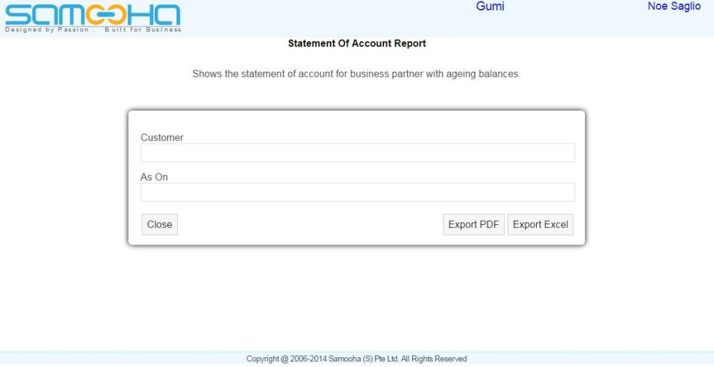 Accounts - Statement of Account Report
