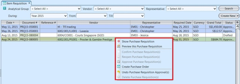 Item Requisition - list options